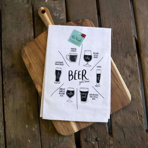 Beer glassware Screen Printed Tea Towel, flour sack towel