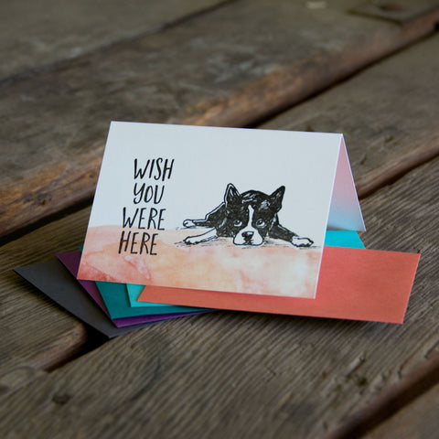 Wish you were here boston terrier, letterpress printed card. Eco friendly