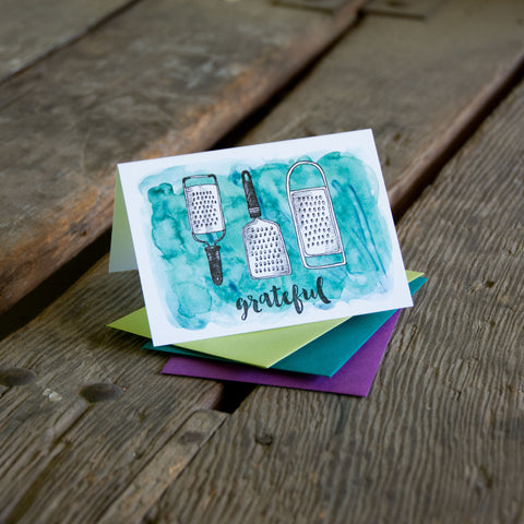 Grateful Card, with vintage graters, letterpress printed eco friendly