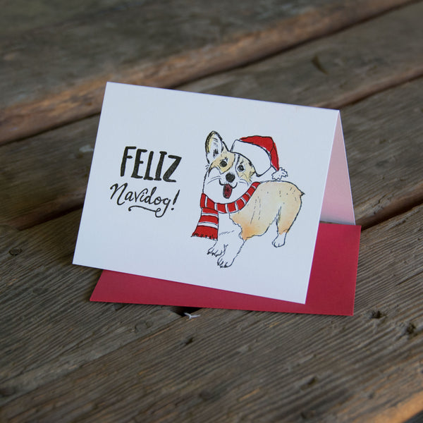Feliz Navidog Card, letterpress printed eco friendly