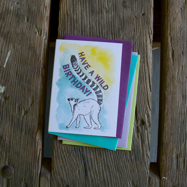 Have a wild birthday, ring tail lemur letterpress printed greeting card