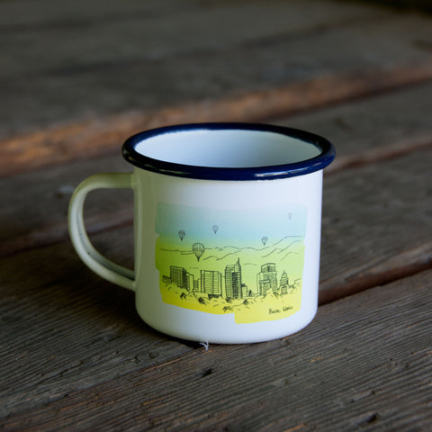 Boise Skyline Watercolor Enamel Mug, watercolor