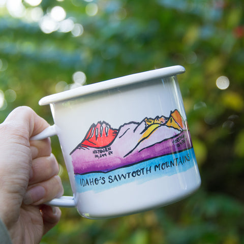 Sawtooth Mountains Enamel Mug, water color and typography