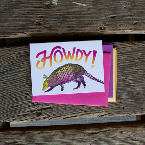 Howdy armadillo, letterpress printed hand drawn eco friendly