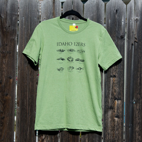 Men's Idaho 12ers Mountain Peaks T-shirt, screen printed with eco-friendly waterbased inks, men's sizes