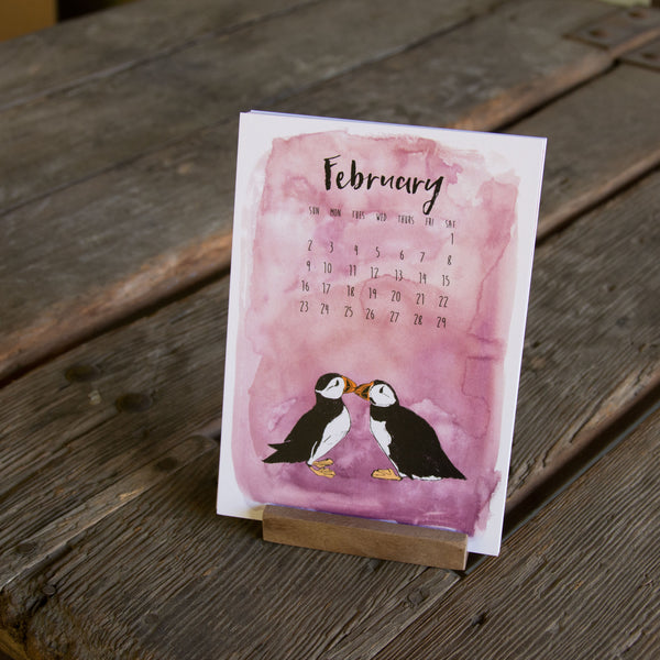 2020 Watercolor Whimsical Creatures Desk Calendar, hand drawn, letterpress printed eco friendly