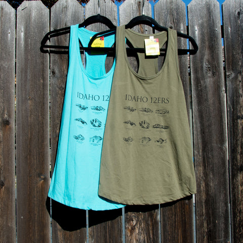 Idaho 12ers Mountain Peaks Women's tank top, screen printed with eco-friendly waterbased inks, adult sizes