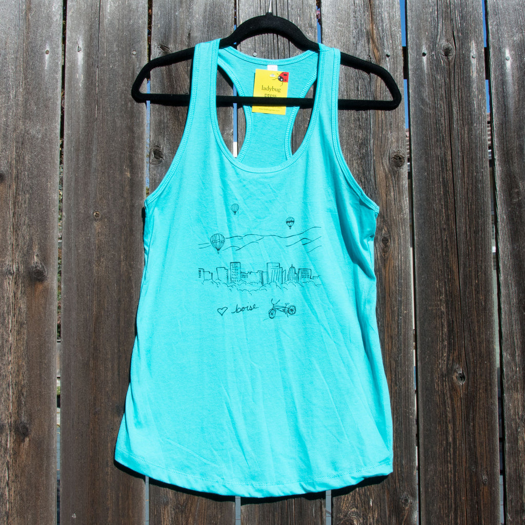 Boise Balloon tank top, screen printed with eco-friendly waterbased inks, adult sizes, women