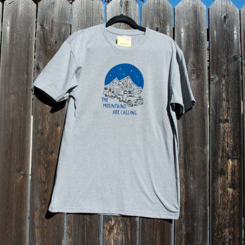 Mountains are Calling T-shirt, screen printed with eco-friendly waterbased inks, adult sizes