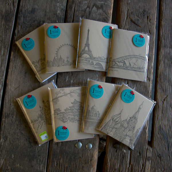 Travel Notebook, hand drawn and staple bound, letterpress printed eco friendly