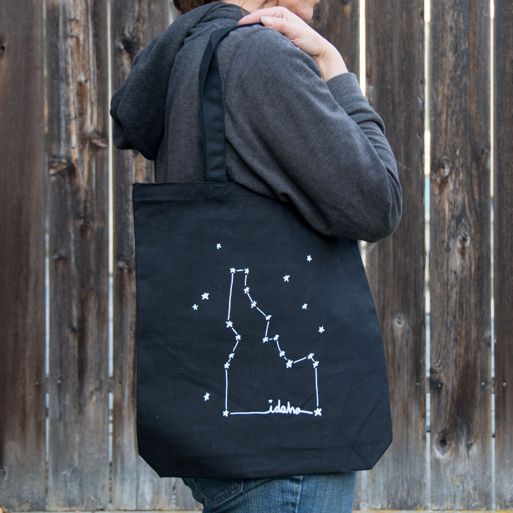 Idaho Constellation Screen Printed Tote Bag, Large heavy duty canvas bag