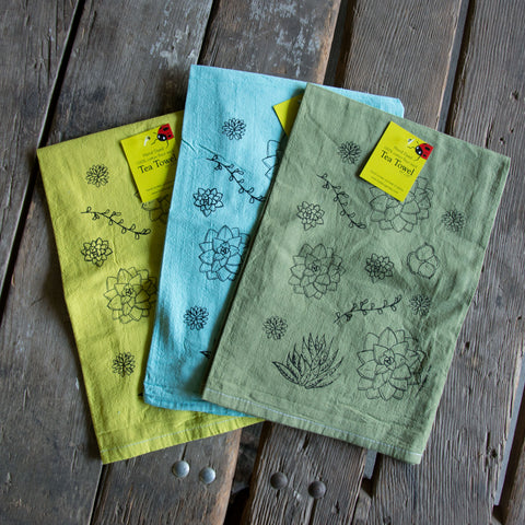 Dyed Succulent Screen Printed Tea Towel, flour sack towel
