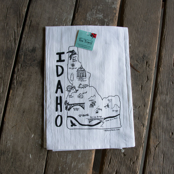 Idaho Map Screen Printed Tea Towel, flour sack towel