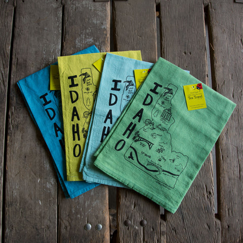 Hand-dyed Idaho Map Screen Printed Tea Towel, flour sack towel