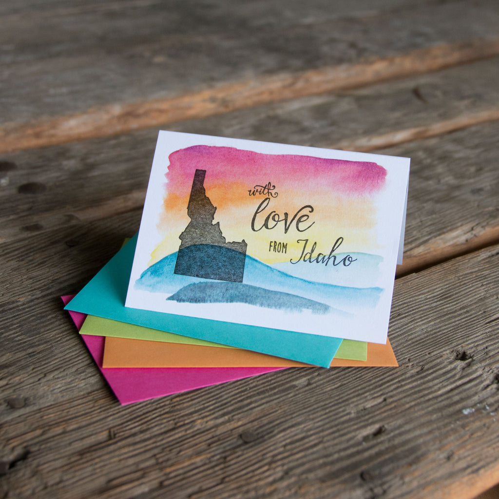 With love from Idaho card, hand water colored, letterpress printed eco friendly