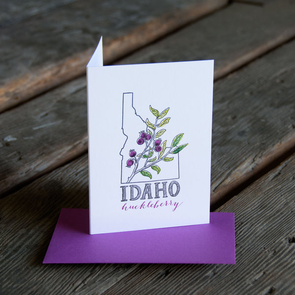 Idaho Huckleberry, letterpress printed eco friendly