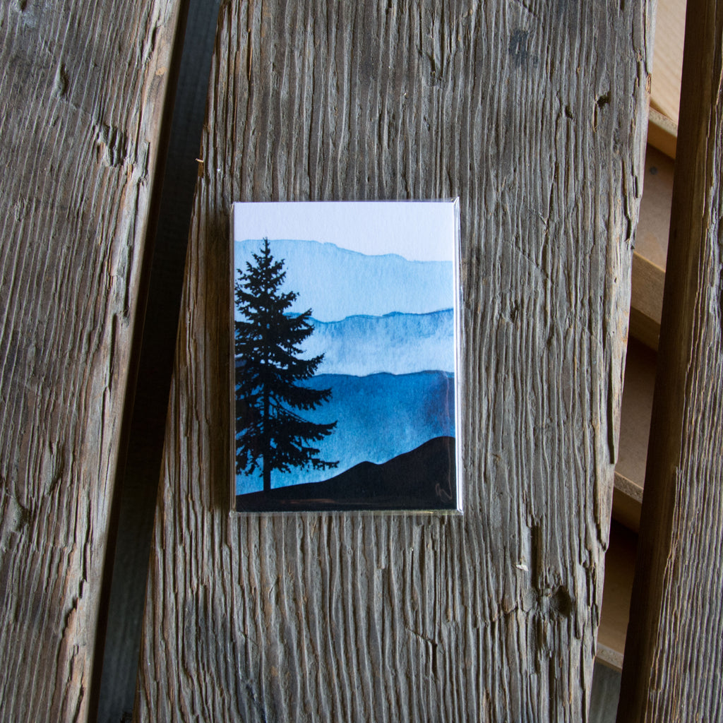 Tree and mountains tag, water color 6 pack