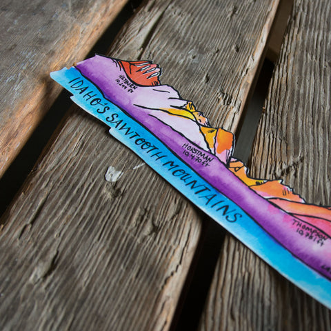 Sawtooth Mountain Range watercolor sticker