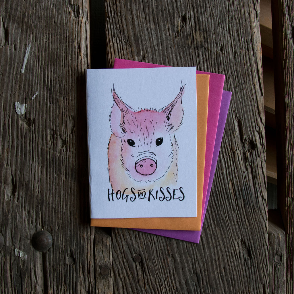 Hogs and kisses, letterpress printed card. Eco friendly