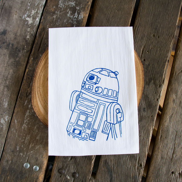 Droid Screen Printed Tea Towel, flour sack towel R2D2