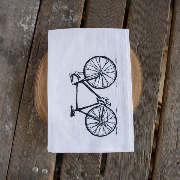 Bike Screen Printed Tea Towel, flour sack towel
