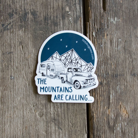 The mountains are calling sticker