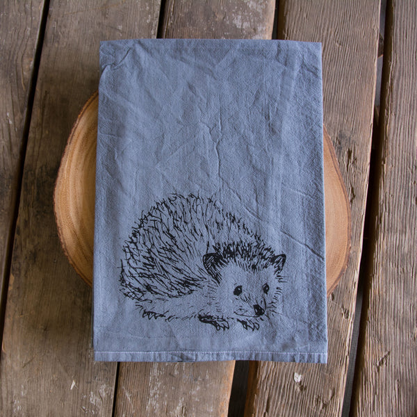 Hand dyed Hedgehog Screen Printed Tea Towel