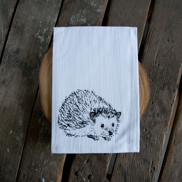 Hedgehog Screen Printed Tea Towel, flour sack towel