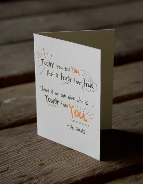 Dr. Seuss quote card, letterpress printed eco friendly