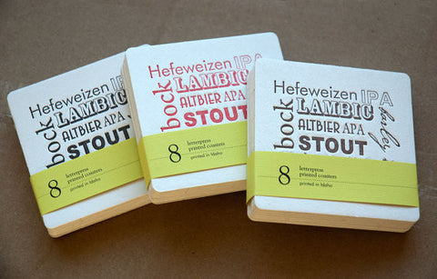 Mixed set of BEER Coasters, set of 8, perfect gift for home brewer or beer lover