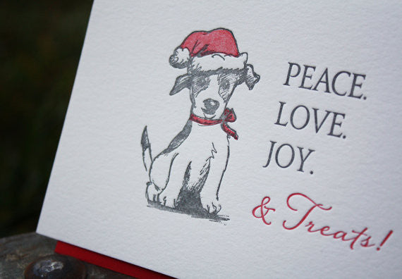 Dog Holiday Card, letterpress printed with jack russell illustration, eco friendly