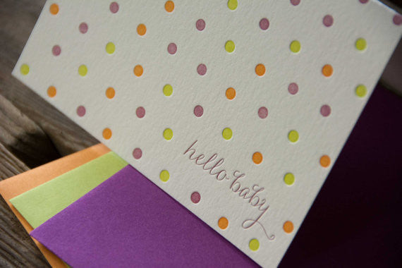 Dots hello baby letterpress cards, letterpress printed card. Eco friendly