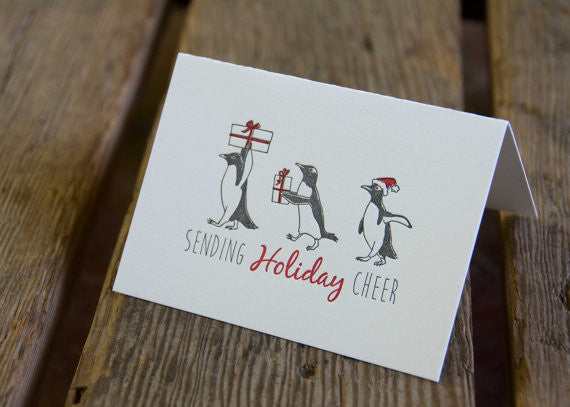 Penguin Holiday Card, letterpress printed, penguins and presents, eco friendly
