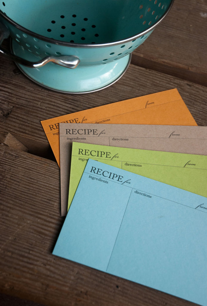 Colorful RECIPE CARDS, modern design (Letterpress printed, 4x6 inches)