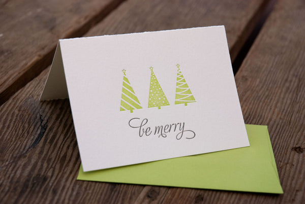 BE MERRY Holiday Card, Modern tree design (letterpress printed)