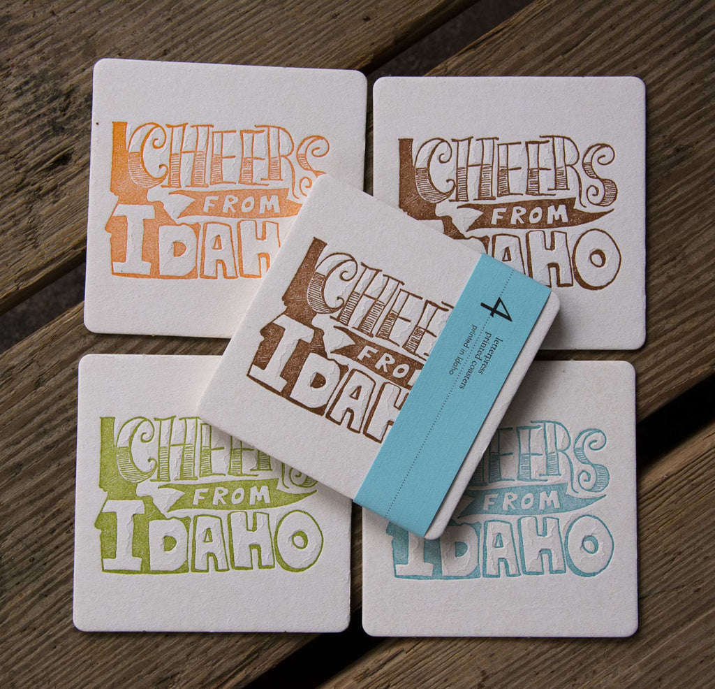 Custom cheers from Your State Coasters, (Letterpress printed, 3.5 inches) set of 4, perfect gift