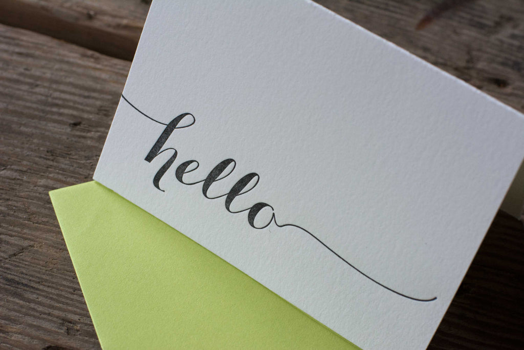hello cards, letterpress printed card. Eco friendly