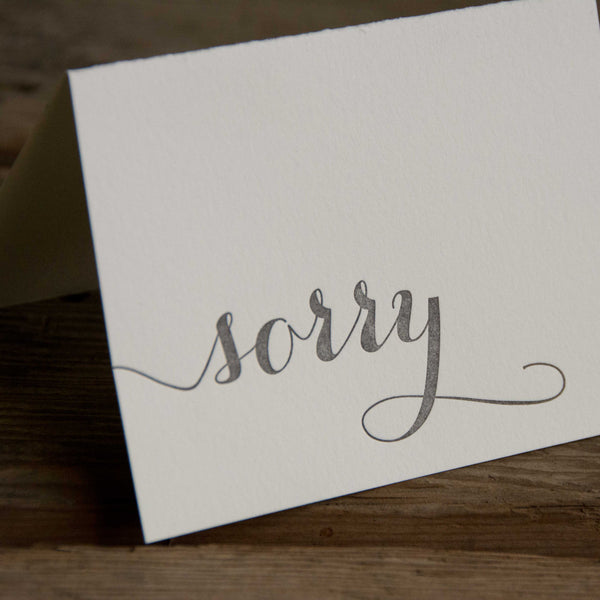 Sorry card, letterpress printed card. Eco friendly