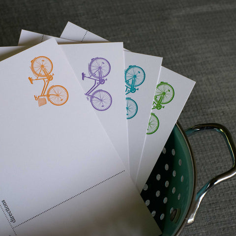 Cruiser Bike Recipe Cards, modern design (Letterpress printed, 4x6 inches)