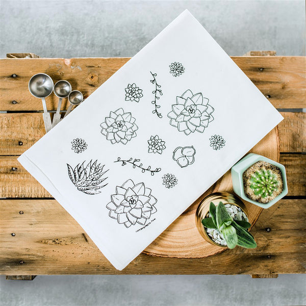 Succulent Screen Printed Tea Towel, flour sack towel