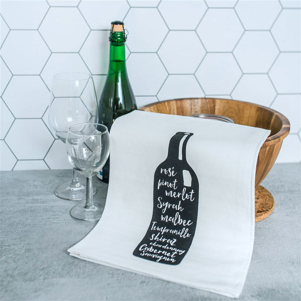 Wine Bottle Screen Printed Tea Towel, flour sack dish towel