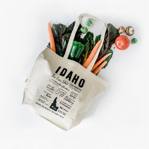 Idaho Facts Screen Printed Tote Bag, Large heavy duty canvas bag