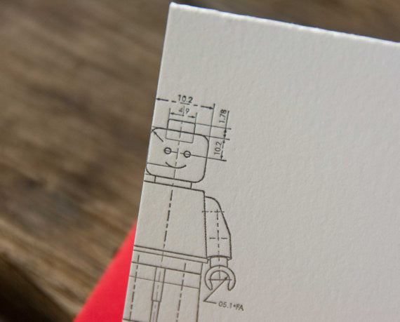 Minifig technical drawing card, letterpress printed. Eco friendly