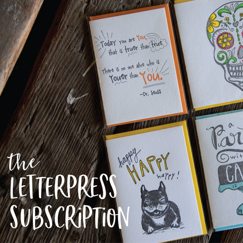 The Letterpress Subscription, Ladybug press goodies shipped monthly makes a great gift, love of letterpress