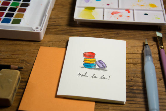 Ooh la la Macaron card, hand water colored, letterpress printed eco friendly