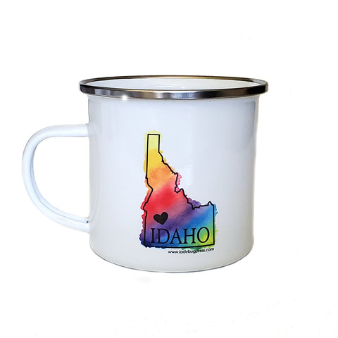 Rainbow Idaho Heart Enamel Mug, RAINBOW watercolor