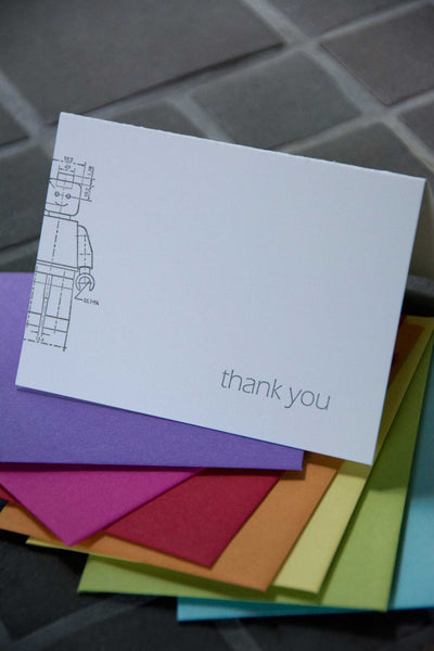 Thank you Minifig technical drawing card, letterpress printed. Eco friendly