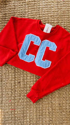 CC Block Double Layer Crewneck - Red