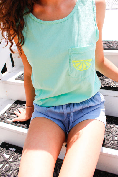 Lemon Comfort Color Pocket Tank