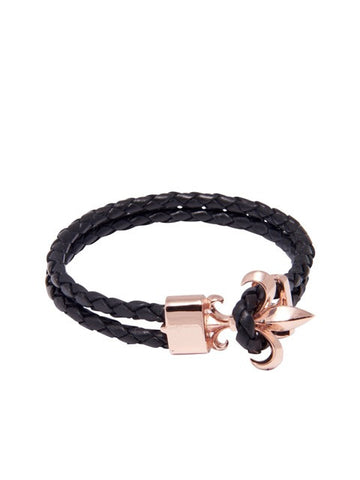 Black Leather Bracelet with Rose Gold Fleur de Lis Lock